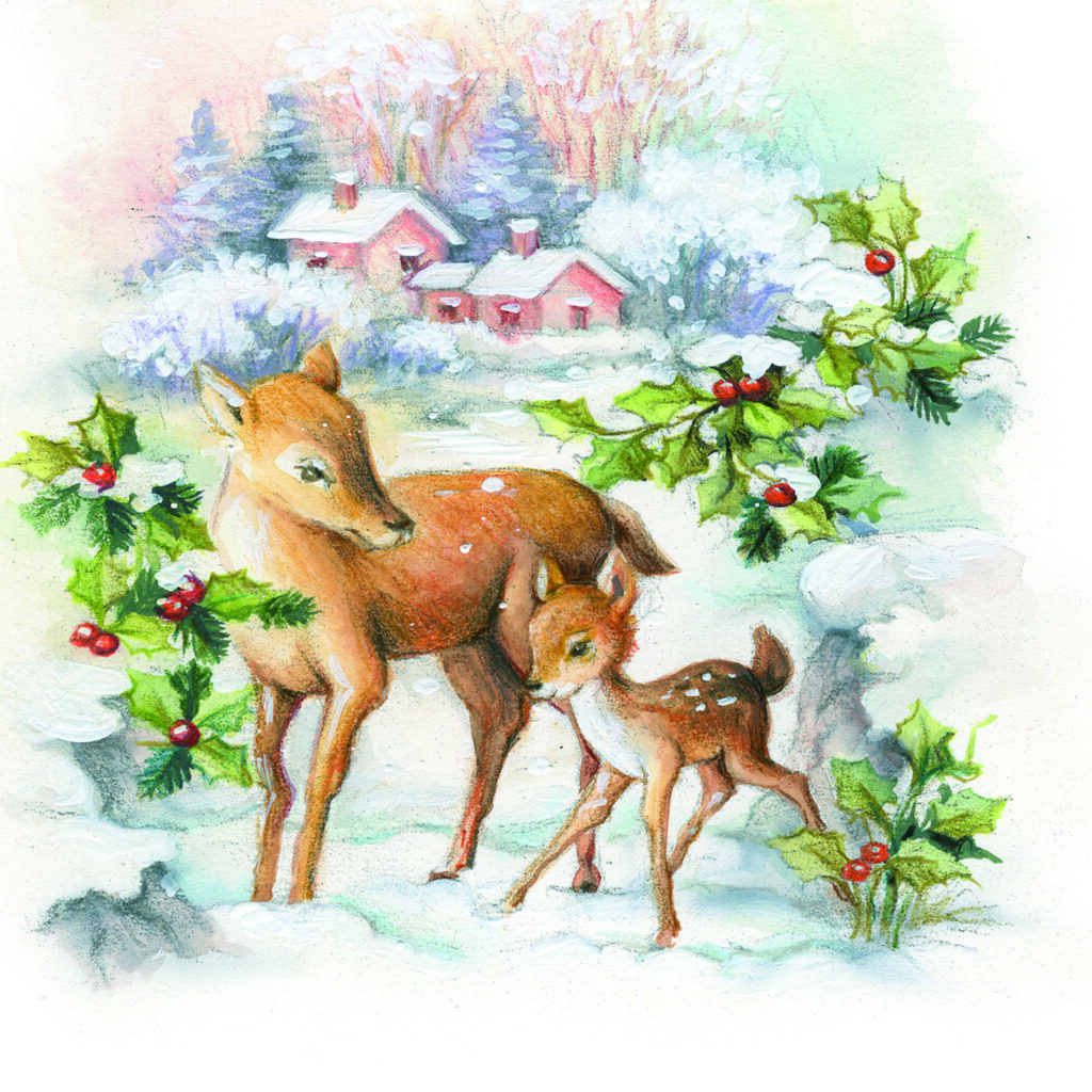 Deer and the Holly – Square